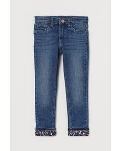 Skinny Fit Lined Jeans Denimblå