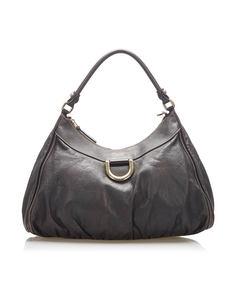 Gucci Abbey D-ring Leather Shoulder Bag Black