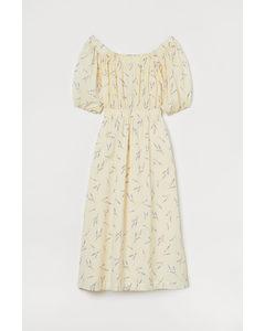 Off Shoulder-klänning Ljusgul/lavendel