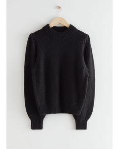 Alpaca Blend Knit Sweater Black