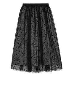 Printed Tulle Skirt Black