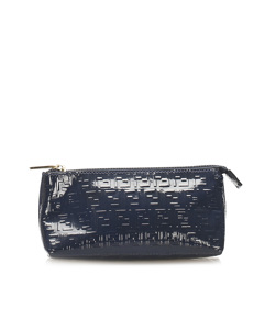 Fendi Zucchino Patent Leather Pouch Blue