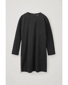 Zip Crepe Dress Black