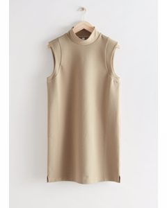 Sleeveless Mock Neck Mini Dress Beige