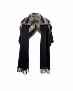 De Carlis Roma Vintage Black Pure Cashmere Scarf Shawl