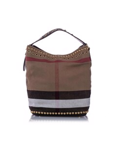Burberry Big Check Canvas Bucket Bag Brown
