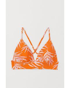 Push-up Triangelbikinitop Oranje/dessin