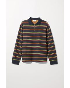 Kian Half Zip Polo Blue Striped
