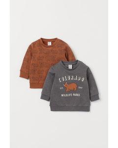 2-pack Sweatshirt I Bomull Brun/björnar