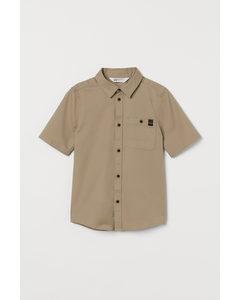 Kurzarmhemd aus Baumwolle Beige