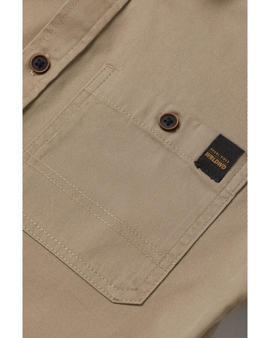 H&M Kurzarmhemd aus Baumwolle Beige