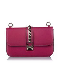 Valentino Rockstud Glam Lock Leather Crossbody Bag Pink