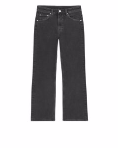 Flared Cropped Stretch Jeans Black