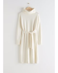 Relaxed Belted Turtleneck Midi Dress White