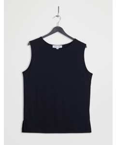 Open Back Lyocell Top Navy