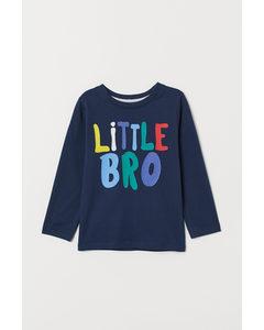 Broertjes/zusjes-sweater Donkerblauw/little Bro