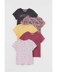 5er-Pack Shirts mit Druck Dunkelrosa/Geblümt