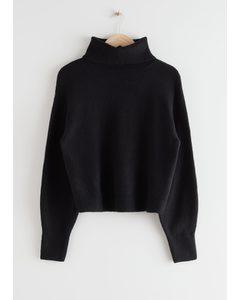 Oversized Cut Out Turtleneck Sweater Black