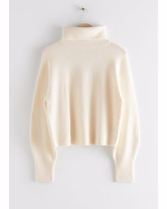 Oversized Cut Out Turtleneck Sweater White