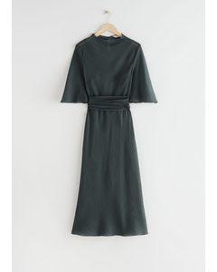Belted Midi Print Dress Dark Grey
