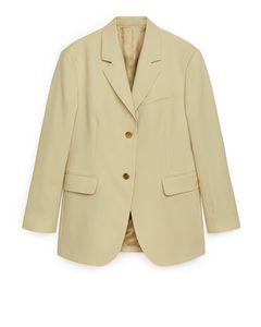 Wool Blend Hopsack Blazer Dusty Yellow