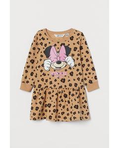 Printed Sweatshirt Dress Beige/minnie Mouse