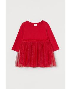 Klänning Med Tyllkjol Röd