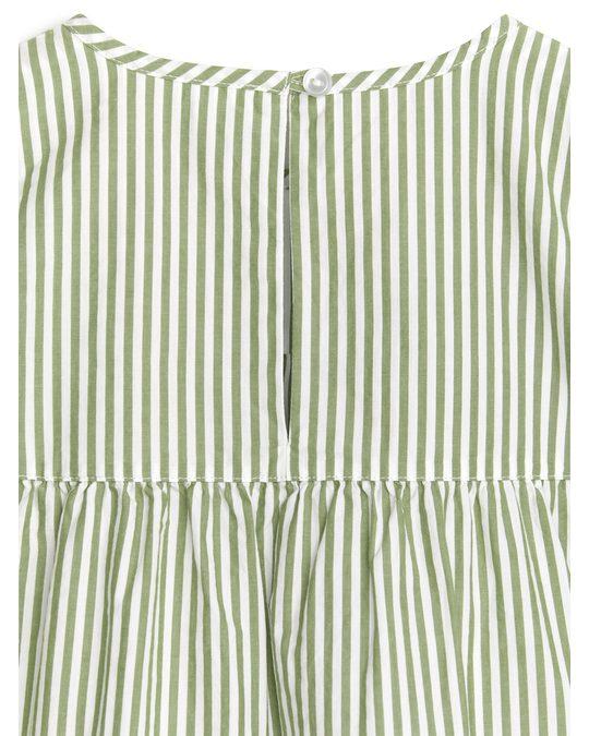 Arket Kleid aus Pima-Baumwolle und Popeline Grün/Gestreift