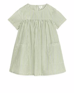 Kleid aus Pima-Baumwolle und Popeline Grün/Gestreift