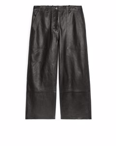 Cropped Leather Trousers Black