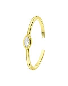 Ring, 925 Silber, vergoldet, verstellbar, Marquise-Schliff, Zirkonia