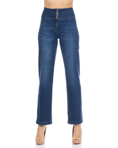 Denim High Waisted Flared Pants With 3 Buttons