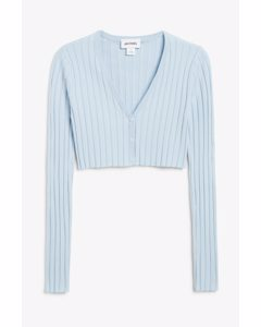 Cropped Cardigan Top Blue