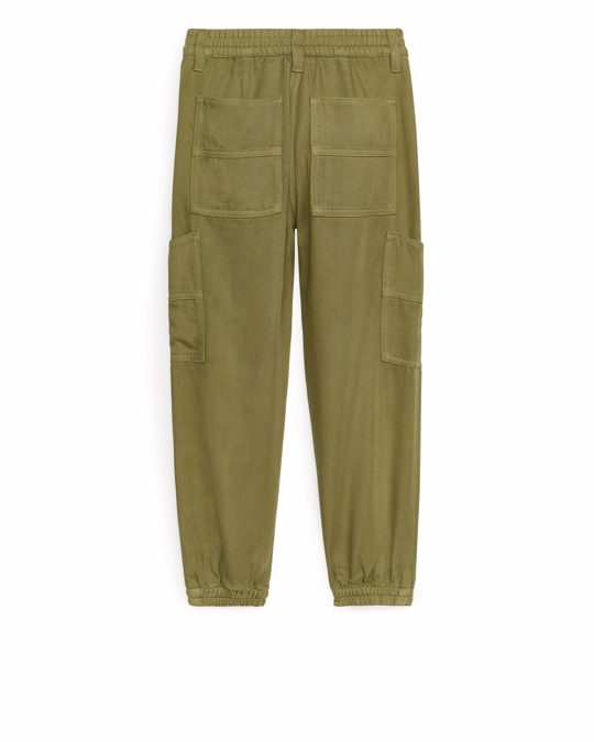 Arket Lyocell Cargo Trousers Olive Green