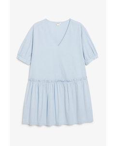 Oversized Cotton Mini Dress Blue Skies