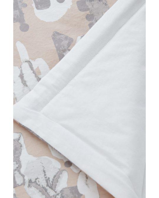 COS Organic Cotton Printed Blanket Beige / White