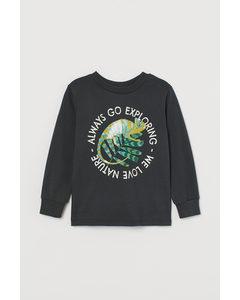 Jerseyshirt mit Druck Dunkelgrau/Chamäleon