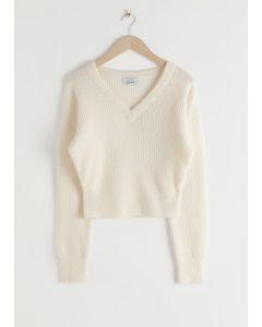 Ribbed V-neck Wool Blend Sweater White
