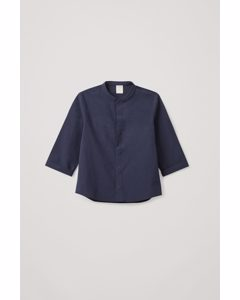 Grandad Collar Shirt Navy