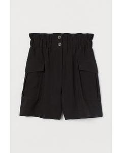Paperbag-Shorts Schwarz