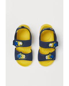 Sandalen mit Druck Blau/Minions