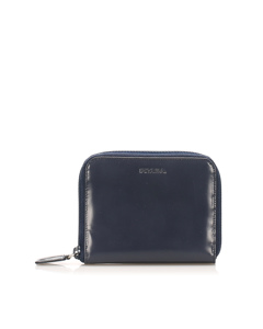 Prada Zip Around Leather Small Wallet Blue
