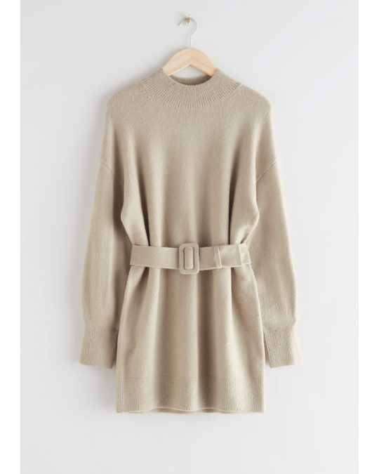 & Other Stories Relaxed Belted Mini Dress Beige