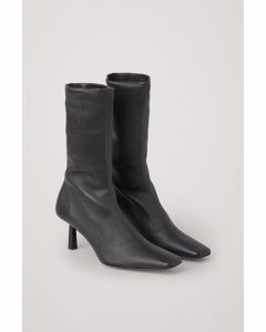Leather Sock Ankle Boots Black