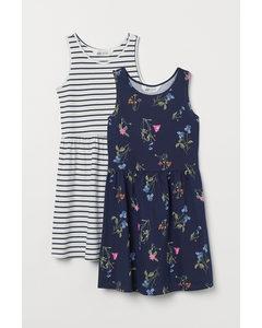 2-pack Trikåklänning Marinblå/blommig