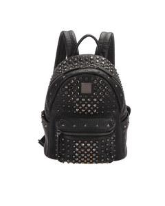 Mcm Studded Leather Backpack Black