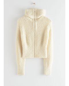 Wide Collar Knit Zip Cardigan Creme