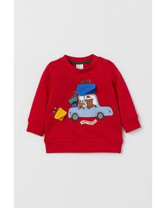 Sweatshirt Med Motiv Röd/bil