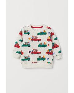 Sweatshirt Med Motiv Ljus Beigemelerad/bilar