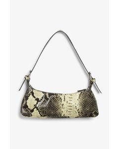 Double Buckle Hand Bag Snake Print